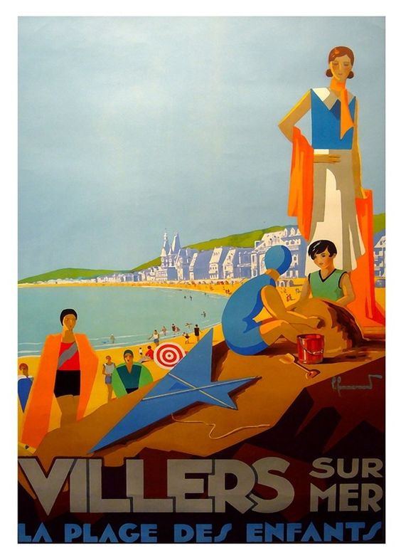 Vintage poster of Villers sur Mer, Normandy