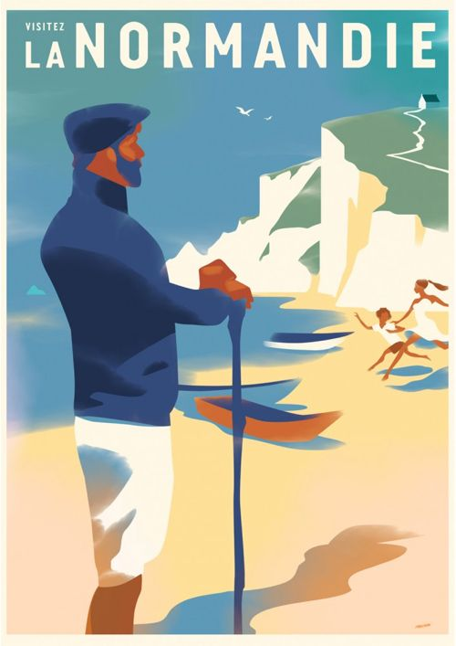 Vintage poster of Normandy coastline