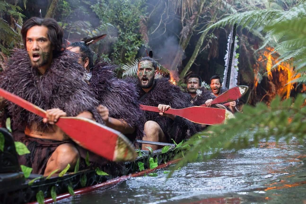 Mitai Maori warriors in war canoe