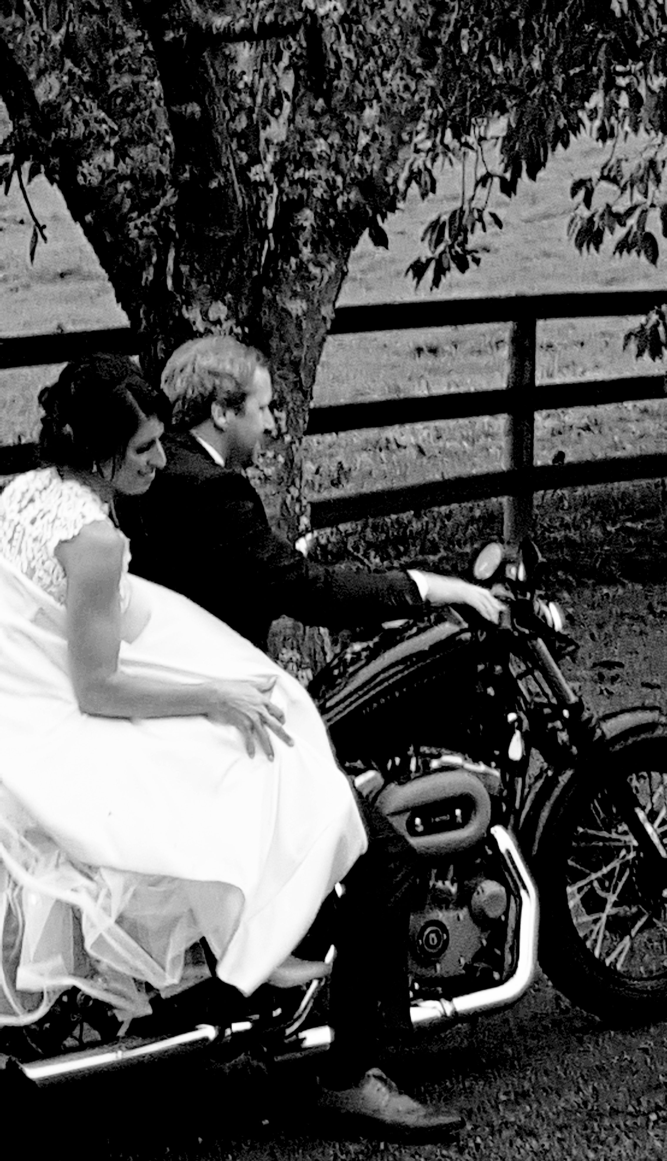 wedding couple hit the road