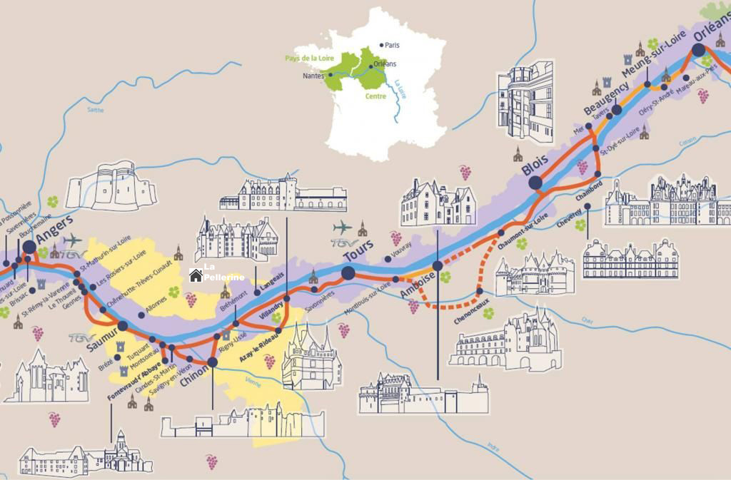 Map showing gite and attractions of Loire Valley.