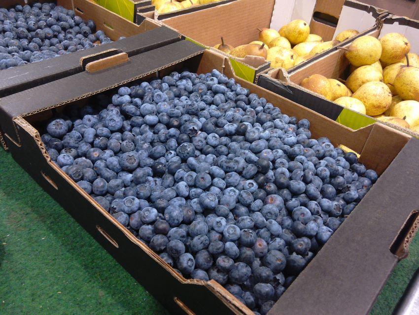Plastic free blueberries,  Grand Frais, Caen, Normandy