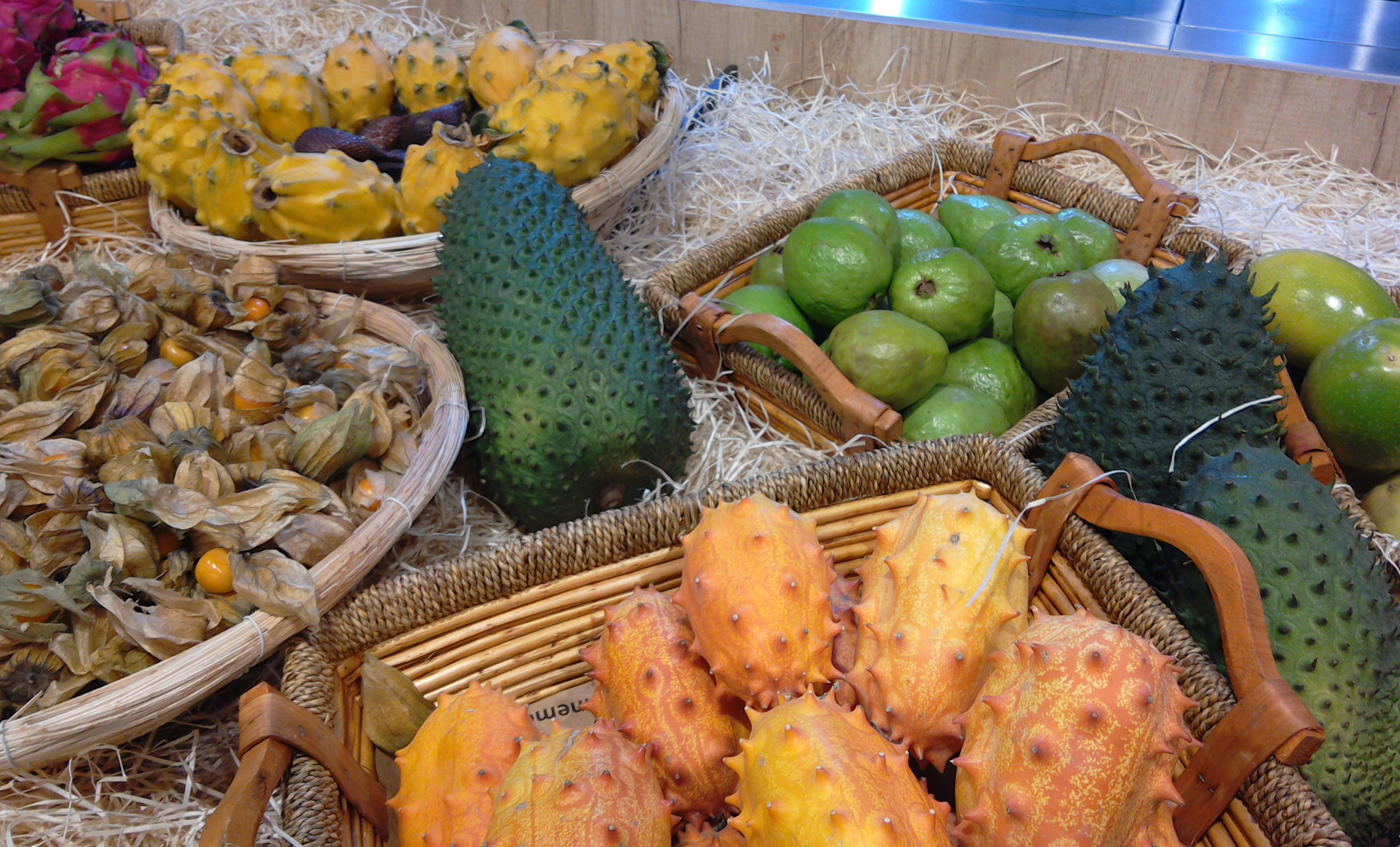 Exotic fruits for sale at Grand Frais, Caen, Normandy