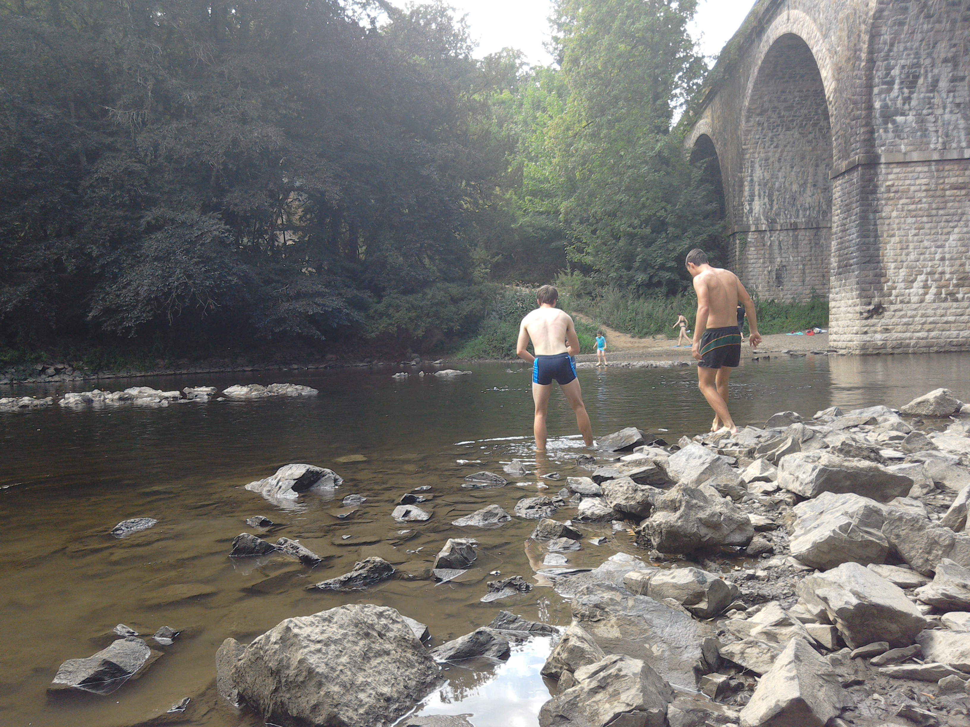 River swimming on the Orne, Normandy, France
