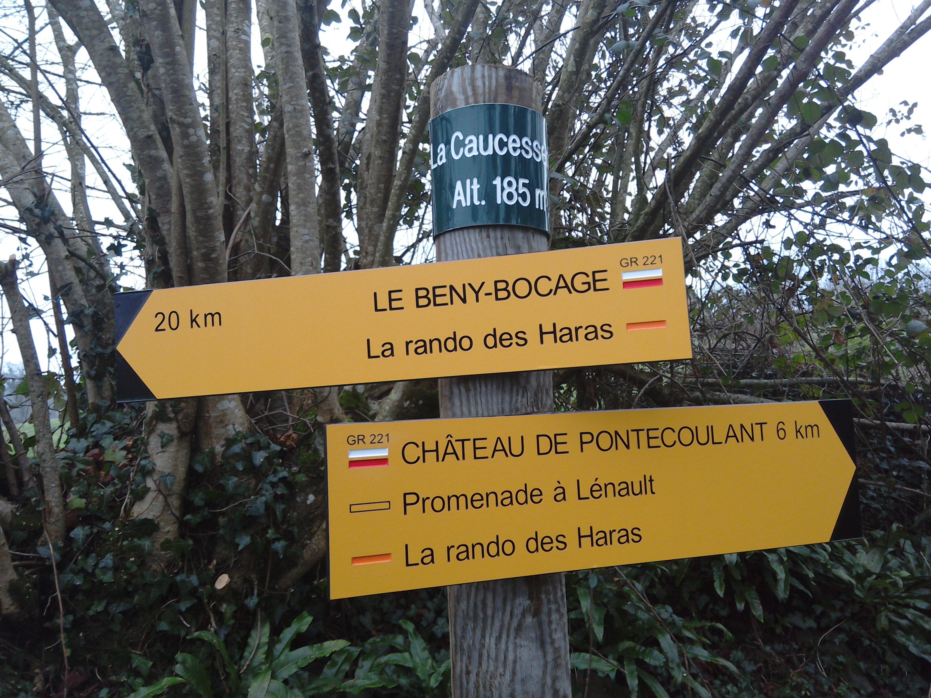 Waymarker post at Eco-Gites of Lénault, holiday cottage in Normandy, France