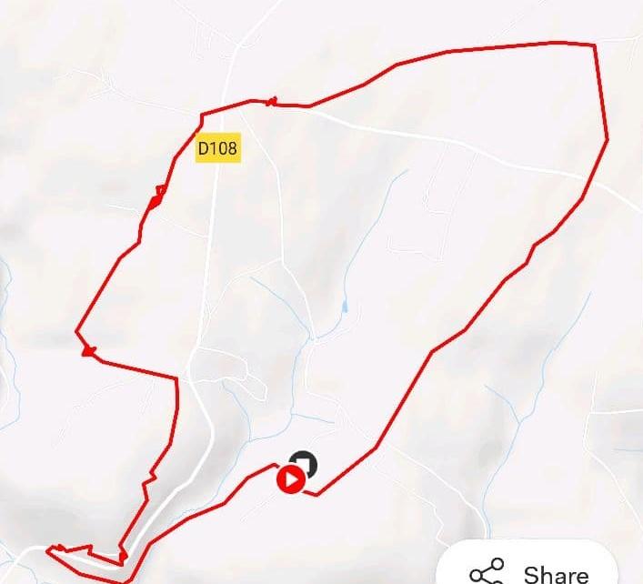 Route of the Lénault walk. Promenade à Lénault