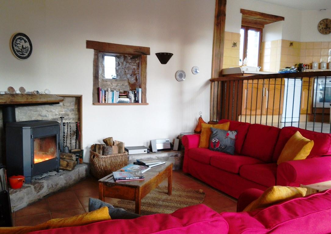 Living Room and WOod BUrner at Eco-Gites of Lenault, Normandy