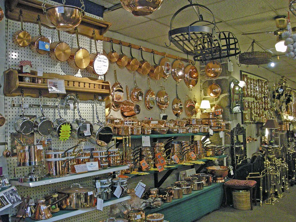 Copperware in a shop in Villedieu les Poeles, Normandy