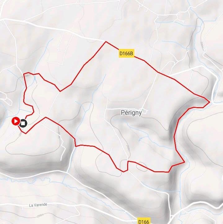 """Route of the walk """"La Pierre Druidique"""", Normandy, France"""