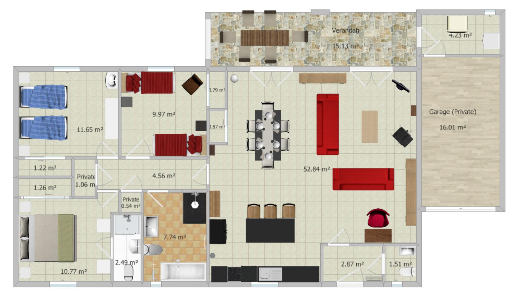 Floor plan of Villa Mimarmel