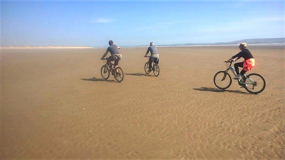 Cycling on beach