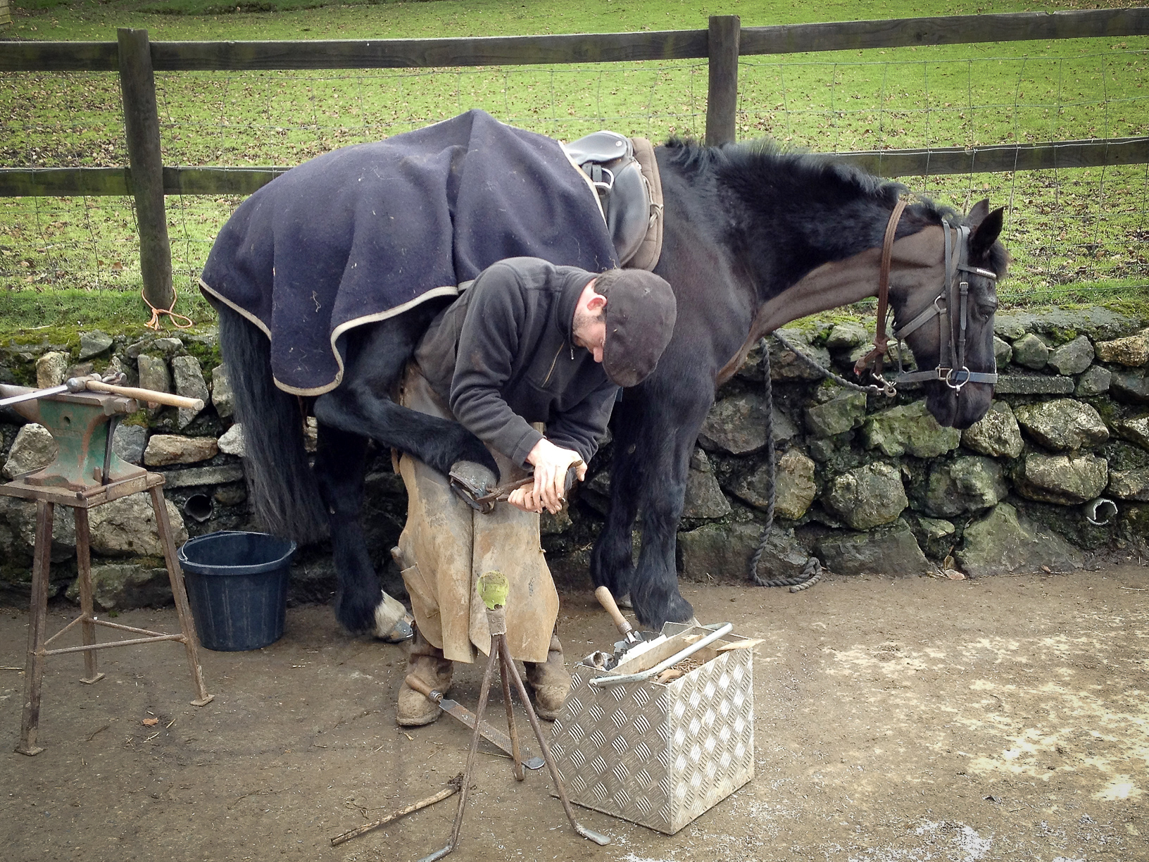Shoe change at Cholwell Stables near Mary Tavy