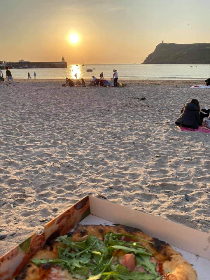 Pizza on the beach in Port Erin
