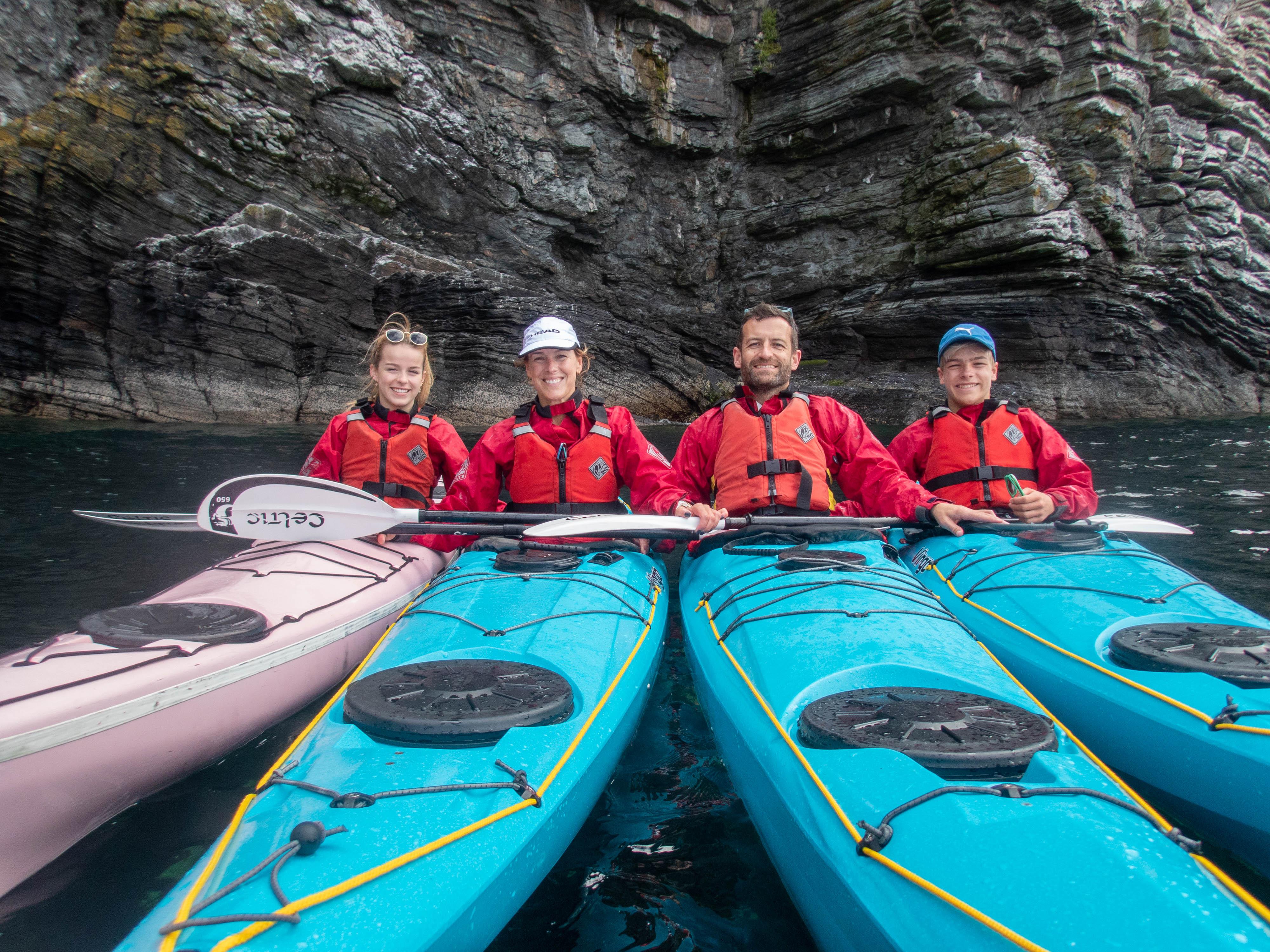 Family sea kayaking in the Isle of Man