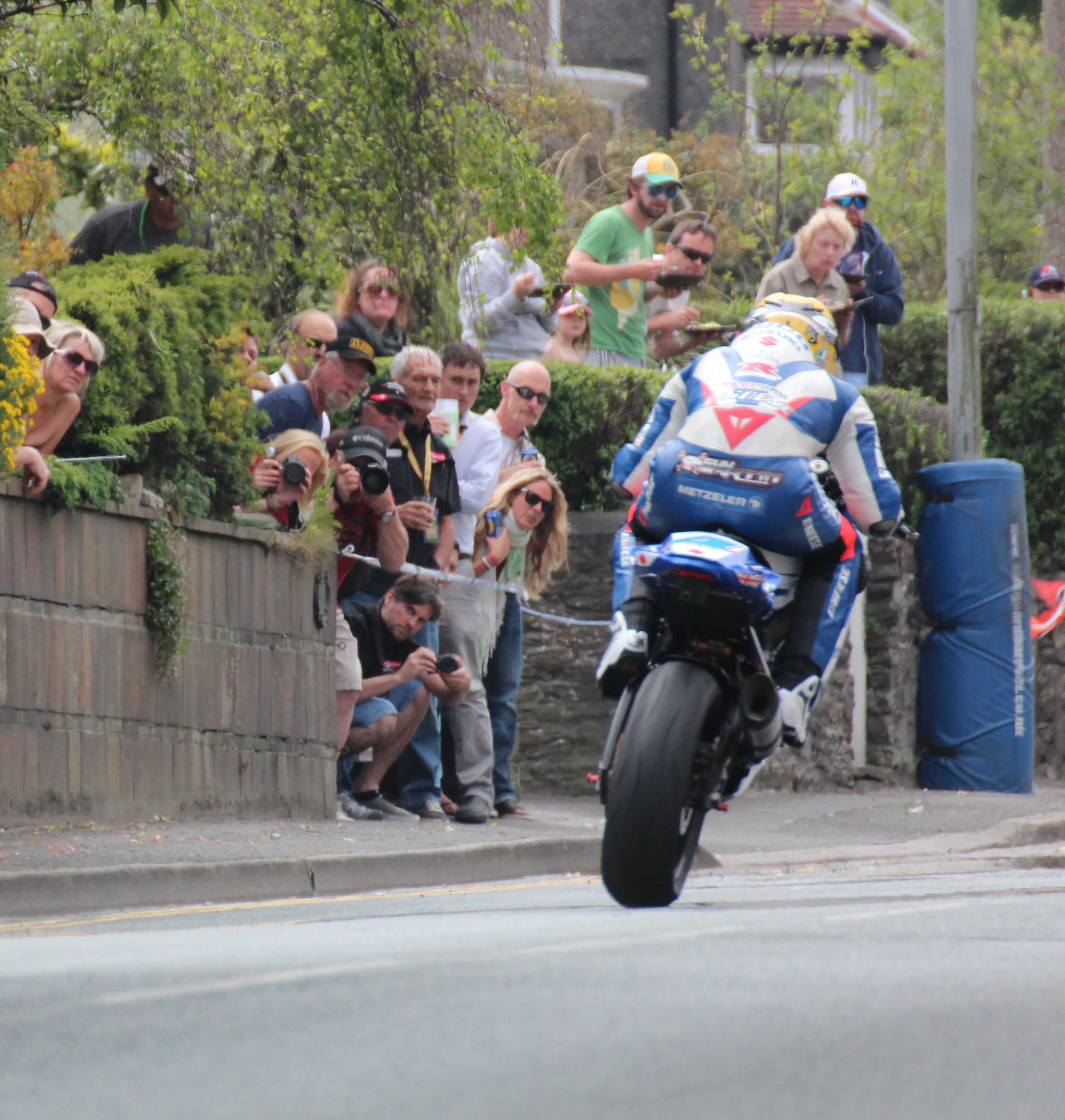 Watching the Isle of Man TT from a hedge!