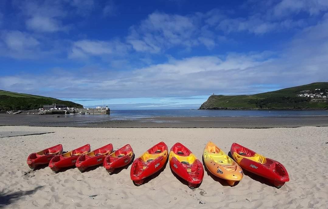 Kayaks on Port Erin beach