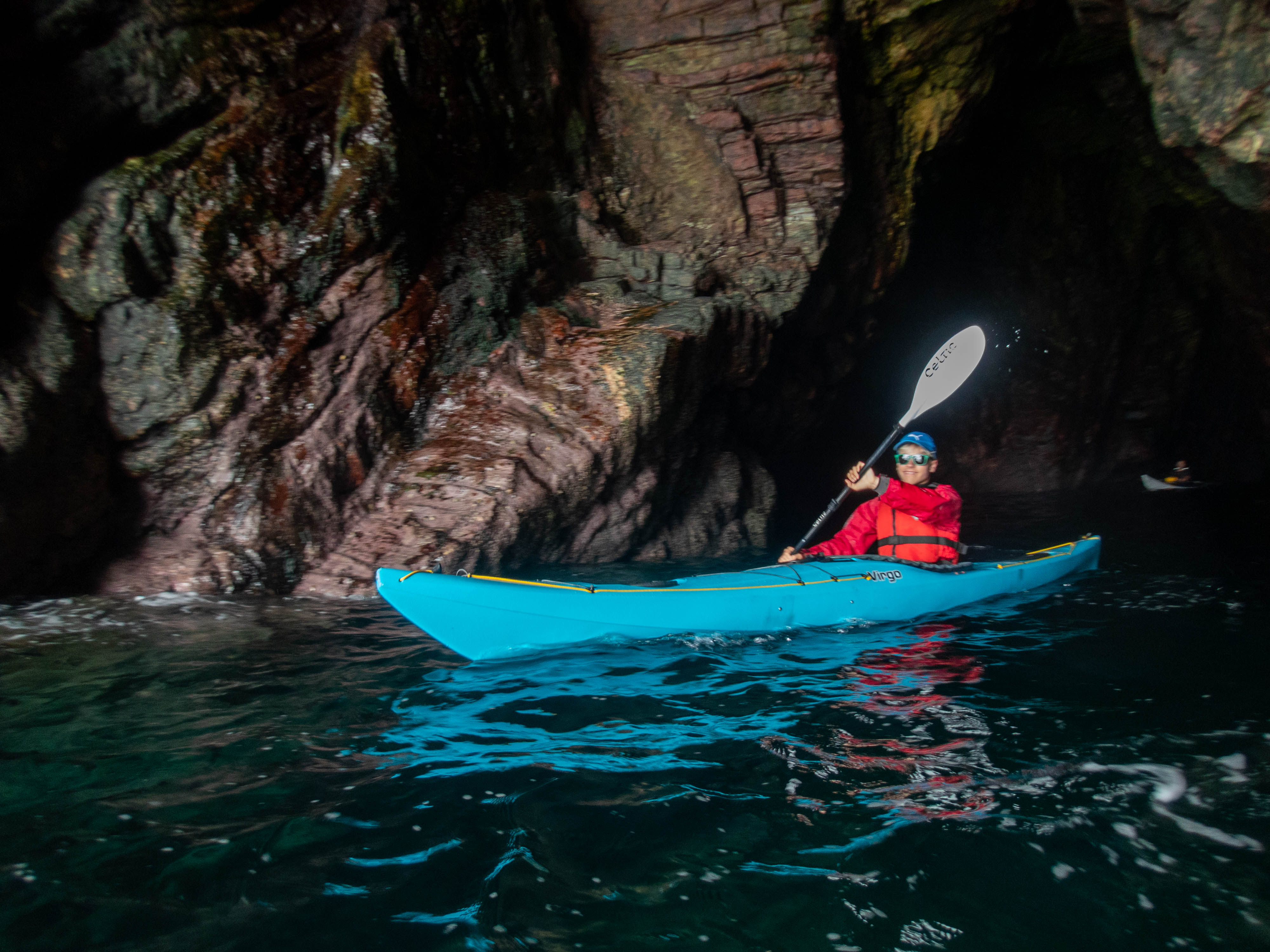 Kayaking through caves