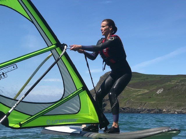 Standing up on windsurf lesson in the Isle of Man