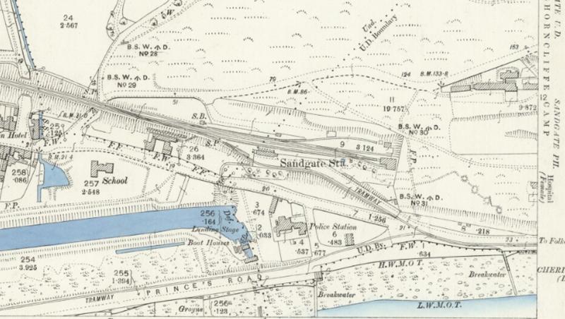 O S Map 1896 Sandgate & Seabrook